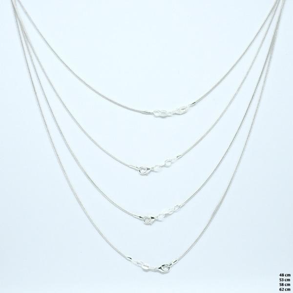 Halskæde - Sølv - 62 cm længde - 1 mm tykkelse 62cm