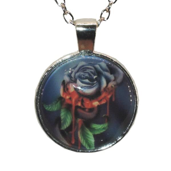 Halskæde i glas med motiv [S31] Lilla rose med slange