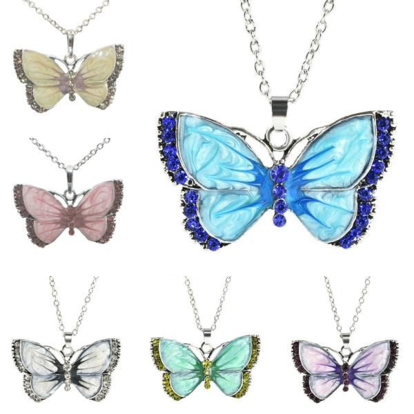 Halskæde - Lilla sommerfugl - Variant 1 med 50 cm halskæde Purple