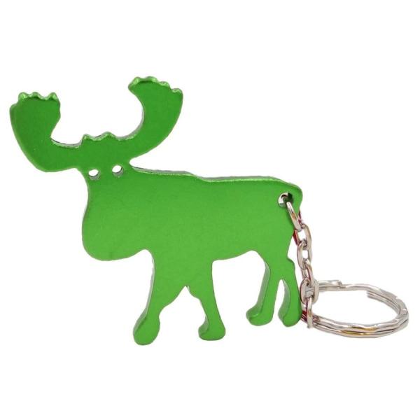 Nøglering - Flaskeåbner - Elg - Sølv Green