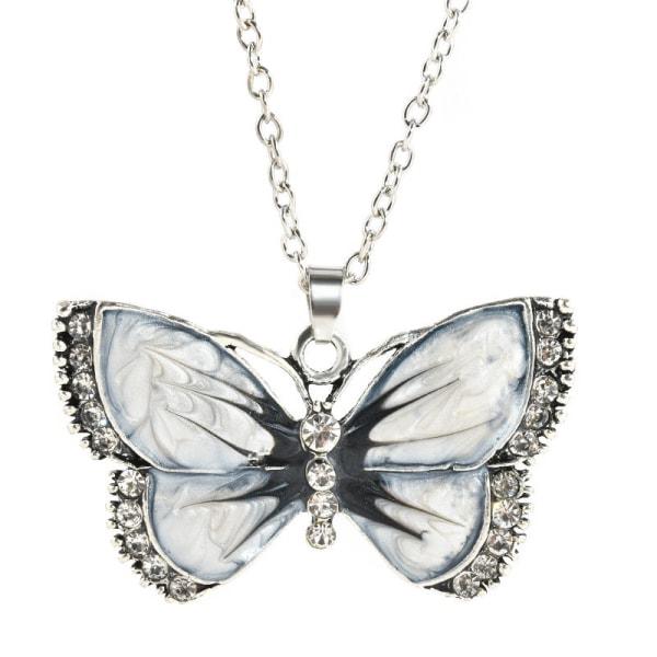Halskæde - Hvid sommerfugl - Variant 1 med 50 cm halskæde White