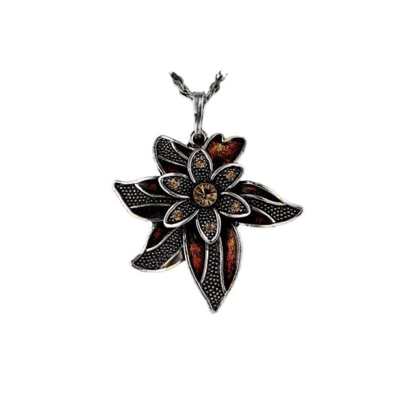 Halskæde - Brun blomst med 70cm halskæde Brown