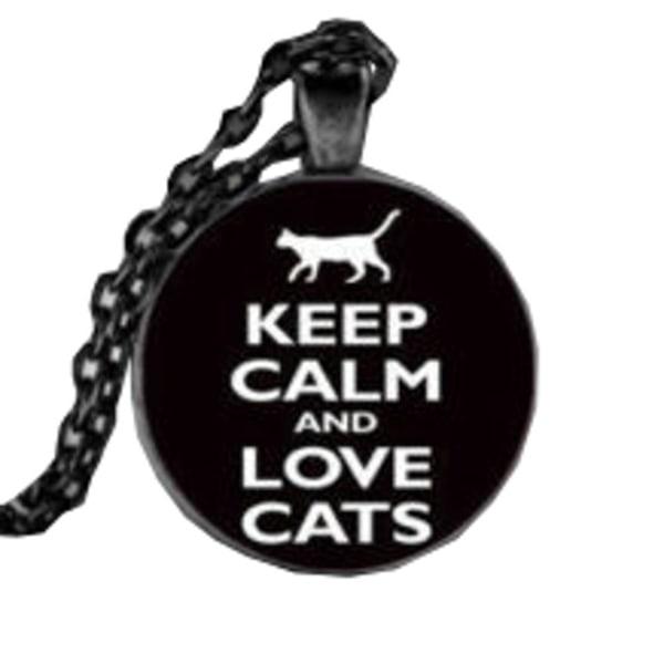 Kaulakoru lasia, aiheella [K09] Love Cats [Black] Black Svart Svart