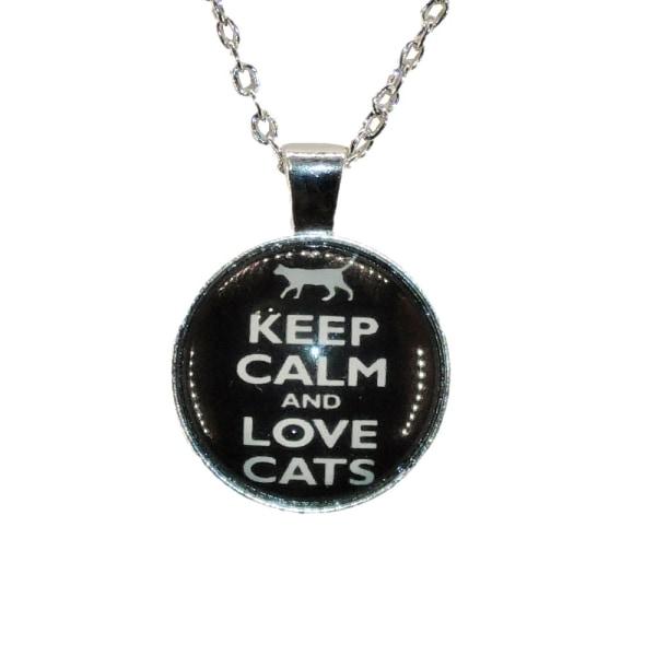 Halskæde i glas med motiv [K09] Love Cats [Sølv] Sort Silver Svart