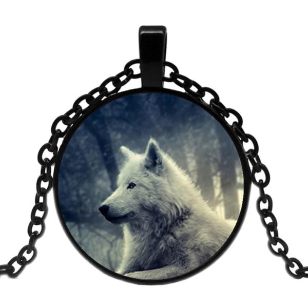 Halskæde i glas med motiv [K03] - Hvid ulv [Sort] Black Svart