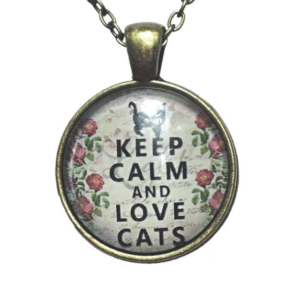Kaulakoru lasia, motiivi [K09] Pysy rauhallisena ja rakasta kissoja Brons Vit