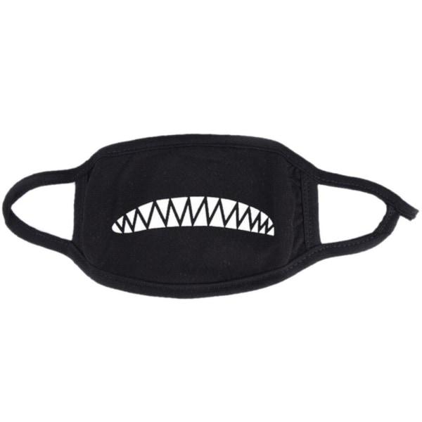 Kasvonaamio - Musta - Haihampaat - Naamioitu Black one size