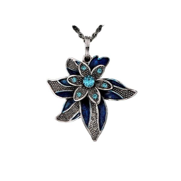 Halskæde - Blå blomst med halskæde på 70 cm Blue