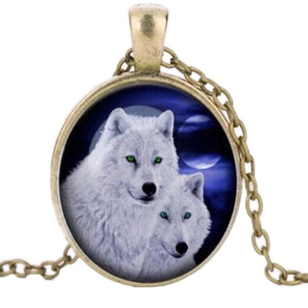 Halskæde i glas med motiv [K08] - To hvide ulve Bronze Brons