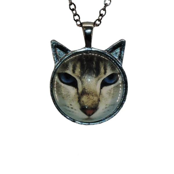 Halskæde i glas med motiv [SmÖ3] Kat med ører