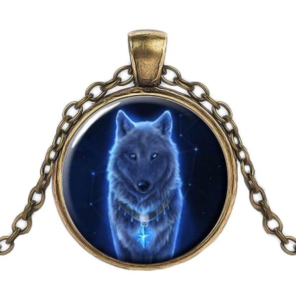 Halskæde i glas med motiv [K01] - Spirit Wolf Bronze Brons