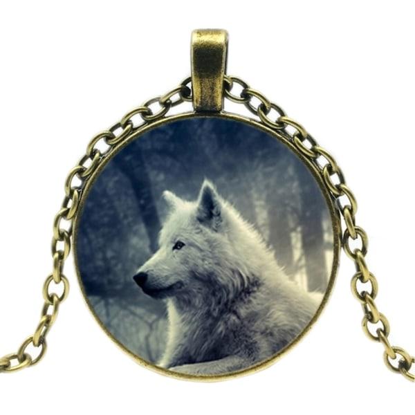 Halskæde i glas med motiv [K03] - Hvid ulv Bronze Brons