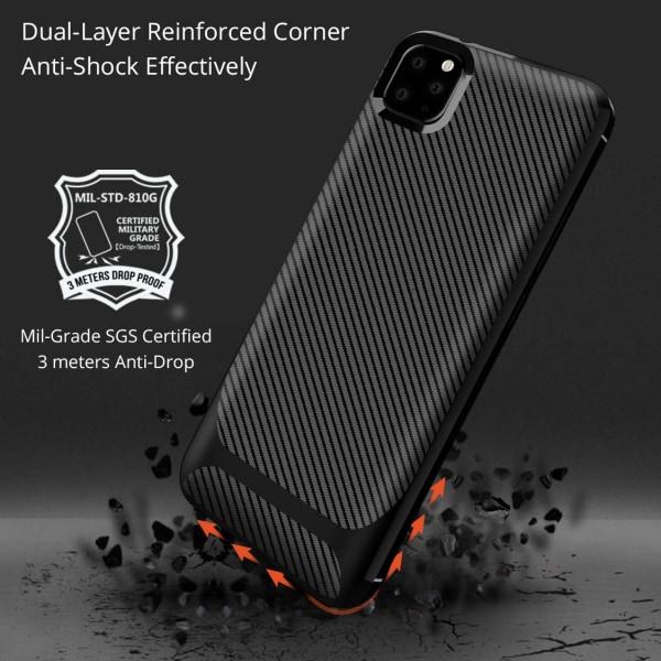 iPhone 11   Matta musta kuori hiilikuitumallilla Black