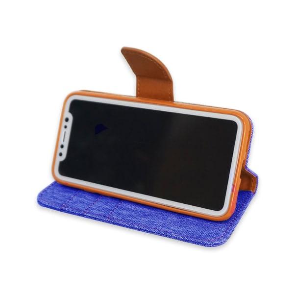 iPhone XR  Plånboksfodral i Tyg & Läder, Havsblå! Blå