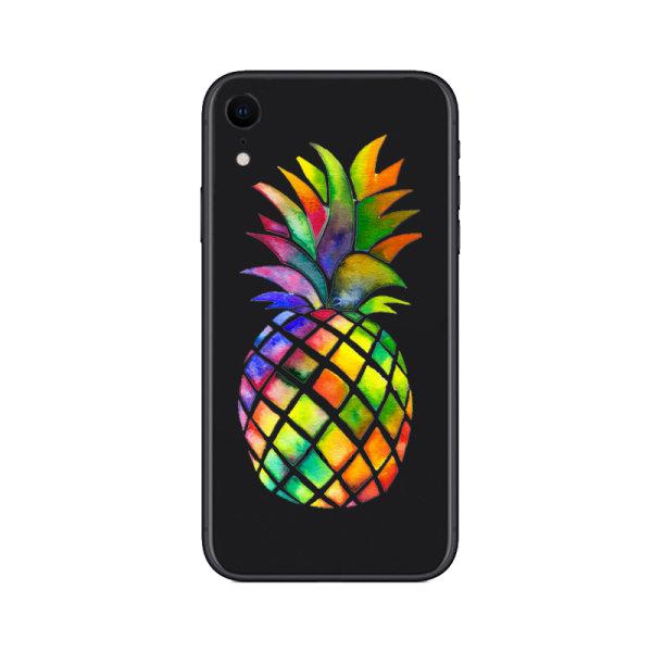 iPhone XR | Mjukt, Genomskinligt Skal med Färgglad Ananas Transparent