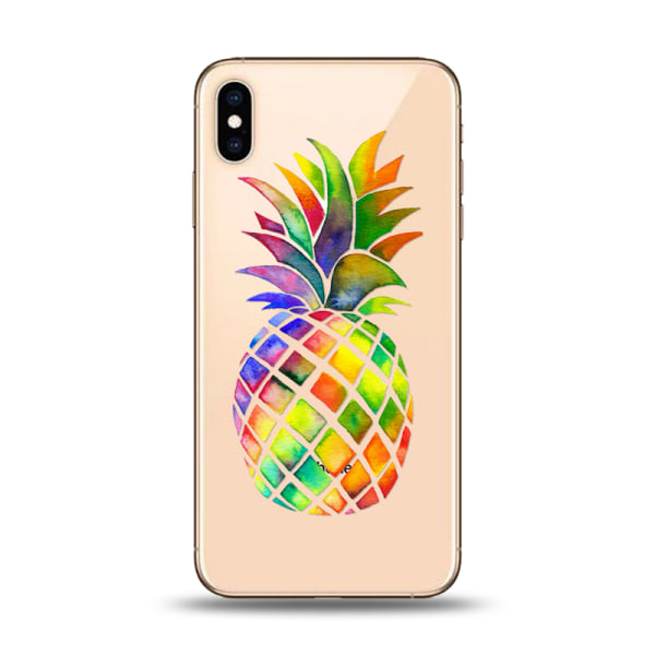 iPhone XS Max | Mjukt, Genomskinligt Skal med Färgglad Ananas Transparent