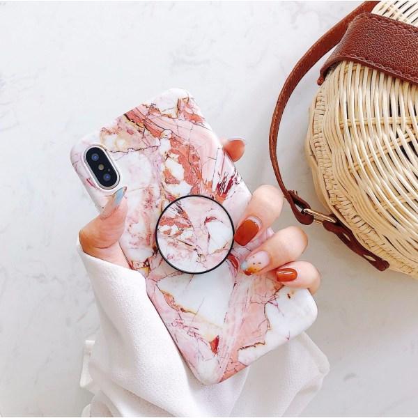 Marmorskal Med Mobilhållare till iPhone XS Max! Rosa