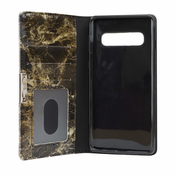 Samsung Galaxy S10 +   Plånboksfodral med Svart Marmor Svart