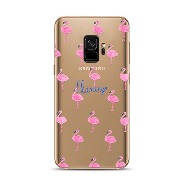 Samsung Galaxy S9   Mjukt, Transparent Skal med Små Flamingos! Transparent