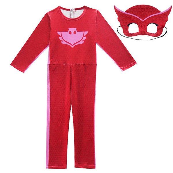 Pyjamashjältarna - hel dress+ ögonmask PJ Masks Red Ugglis 110 cl
