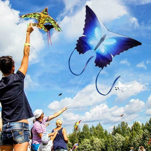 1* Blue Butterfly Kite Outdoor Games med 30m Single Line Kite
