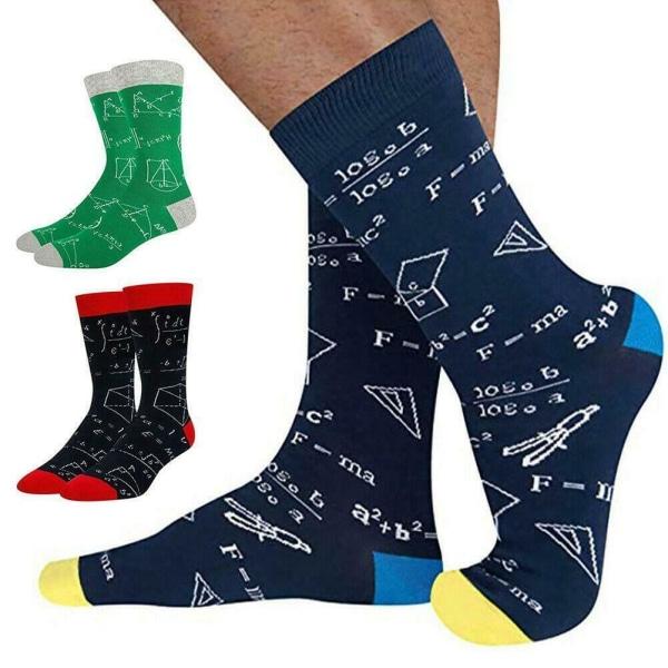 Färgglada matematik för tryckta strumpor för män rörstrumpor Casual