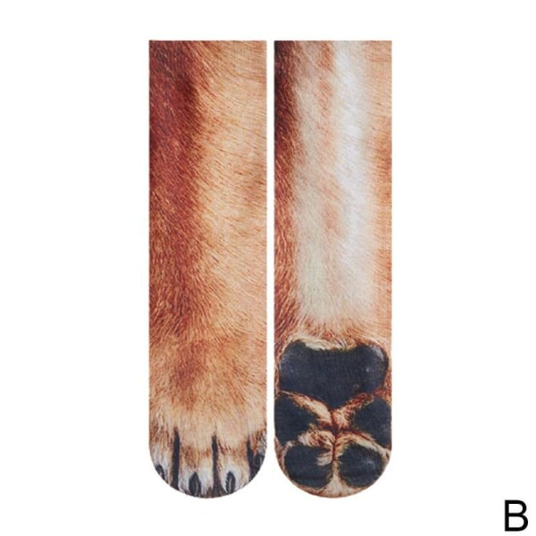 Roliga vuxna barn elastiska strumpor Animal Paw Feet Crew 3D