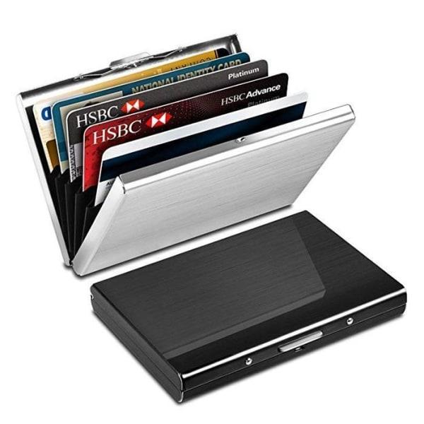Rostfri - Korthållare med fack - Skyddar RFID - plånbokmetall Silver