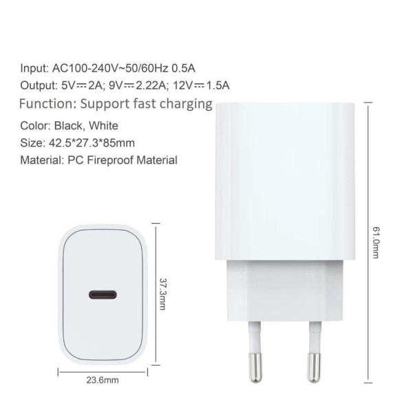 iPhone laddare för Apple 12 Mini USB-C strömadapter 20W PD Vit