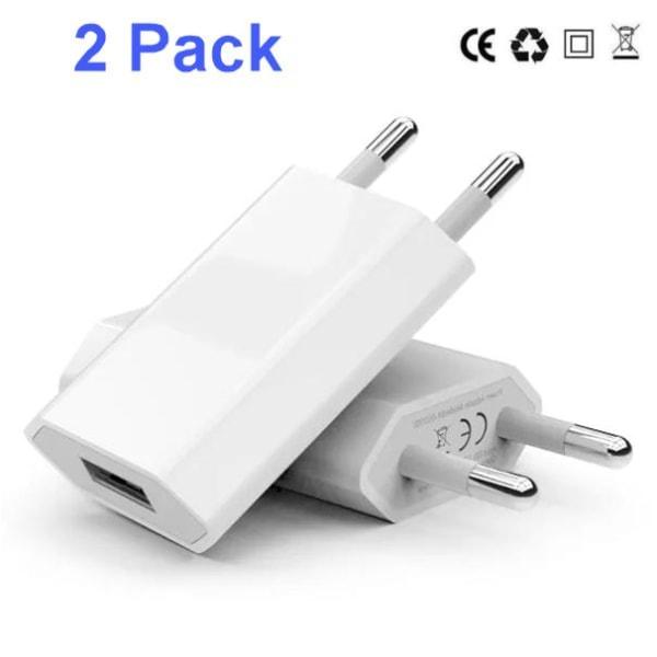 2 Pack Laddare till iPhone / Samsung 5V / 1A mfl Vit