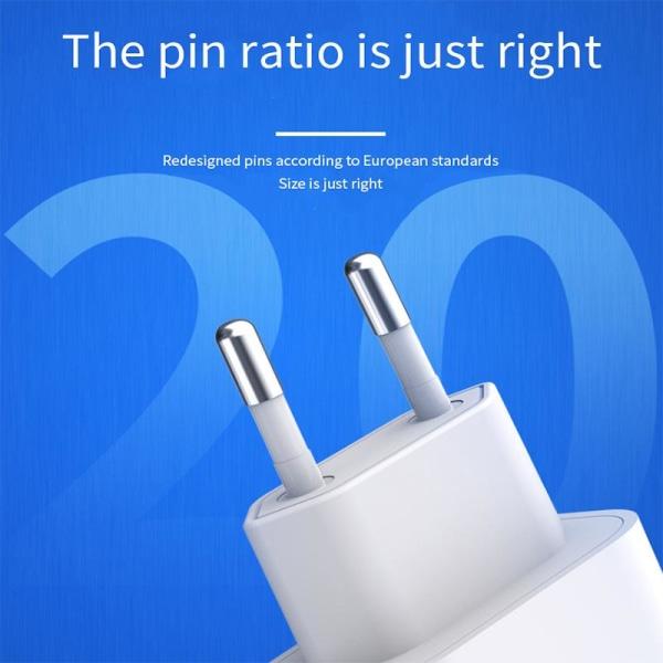 iPhone laddare för Apple 11/12/13 USB-C strömadapter 20W PD Vit Vit