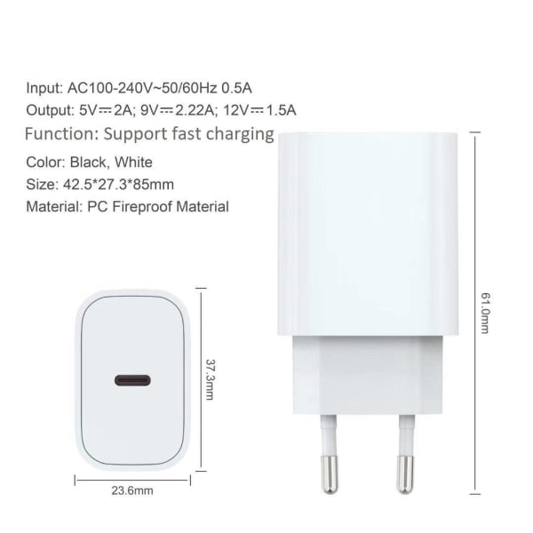 iPhone laddare för Apple 12 Pro Max USB-C strömadapter 20W PD Vit