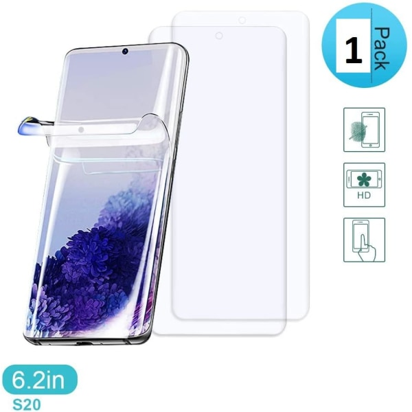 Samsung S20 Skärmskydd PET plast med böjda kanter  Transparent