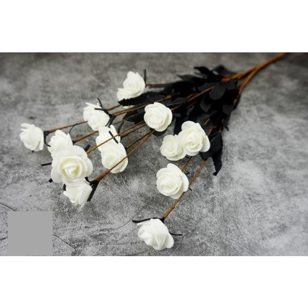15 Huvuden Konstgjord Falsk Blommande Rosblombukett Heminredning Vit