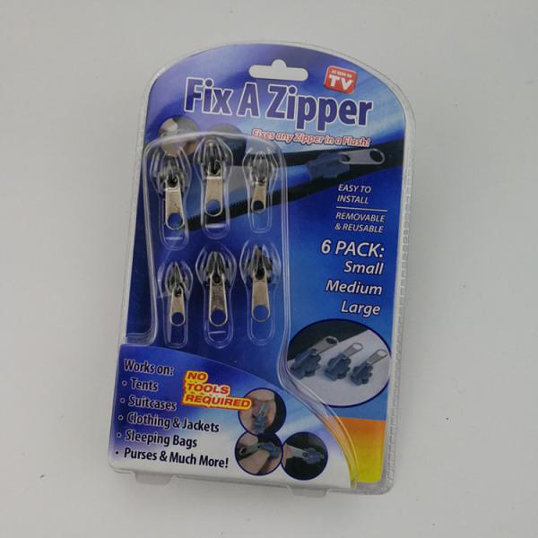 6st Fixa en dragkedja Zip Slider Puller Rescue Instant Repair Alla svarta Opp-förpackningar 1 pack