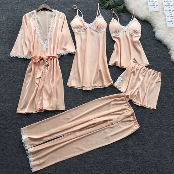 5 Pyjamas för Damer, Pyjamas Med Spetsar i Silkesatin Champagne L