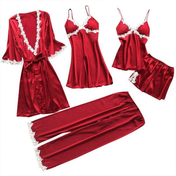 5 Pyjamas för Damer, Pyjamas Med Spetsar i Silkesatin Röd M