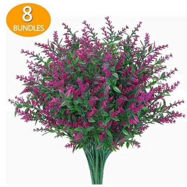8 Buntar av Konstgjorda Blommor Plast Utomhus Växt Dekoration Fuchsia