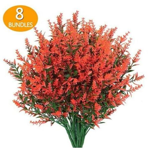 8 Buntar av Konstgjorda Blommor Plast Utomhus Växt Dekoration Röd