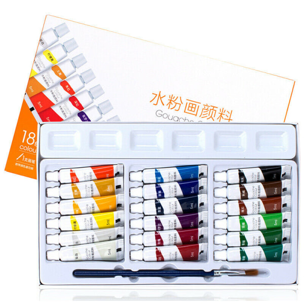Akrylpigment Artist Set 12/18/24 Färger Professionella Paint 12 färger