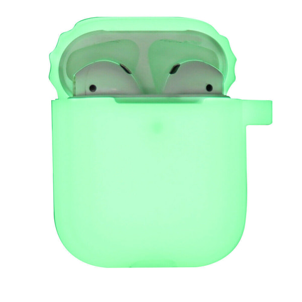 För Apple AirPods 1/2 Silikon hörlursfodral fodral täcker natt Fluorescerande gul