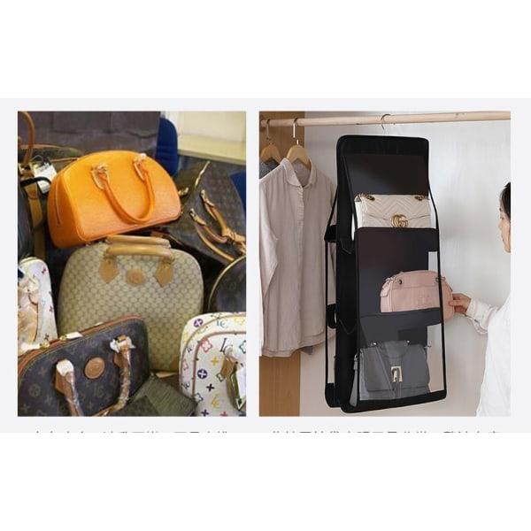 Hängande 6 Fickor Väskor Arrangörer Hylla Bag Förvaringshållare Grå