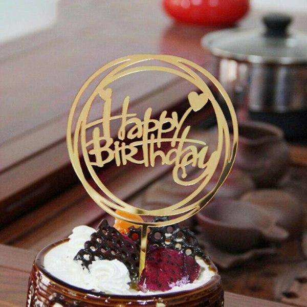 Hem Kärlek Grattis på födelsedagen Guldkaka Topperkort Akrylfes Svart runda