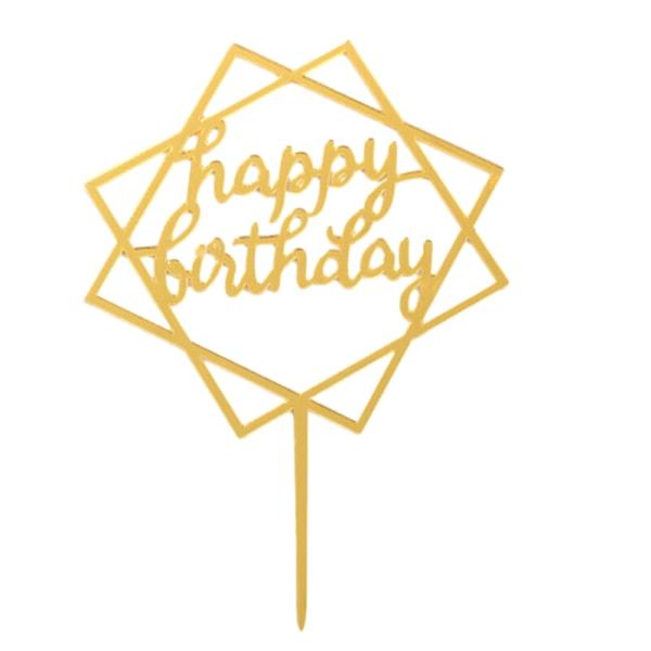 Hem Kärlek Grattis på födelsedagen Guldkaka Topperkort Akrylfes Guldstorg