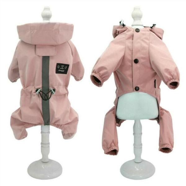 Hundkläder Rain Coat Vattentät 4 Ben Pet Raincoat Hoodie För Sm Rosa L