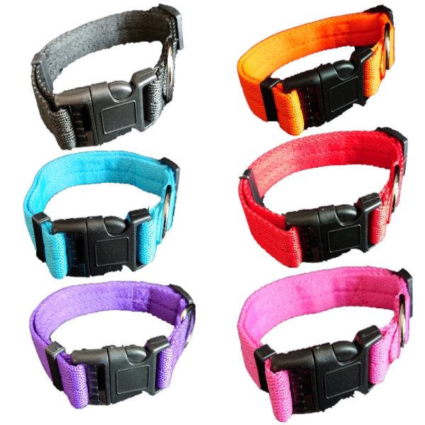 Hundvalp Solid Collar Nylon Justerbara Collars 4 Storlekar 6 Fä Blå S
