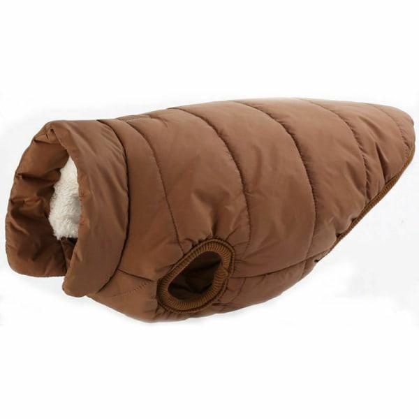 Husdjur hund varm väst kappa kläder jacka liten medium stor hund Kaffe M