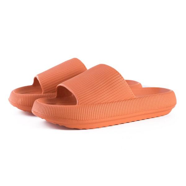Kvinnor inomhus badrum Tjock plattform Tofflor Soft Eva Anti-S Orange 36-37