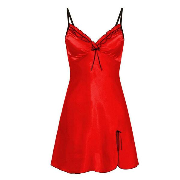 Kvinnor ren färg v-nacke ärmlös bowknot kort nattkläder sömnlös Röd Xl