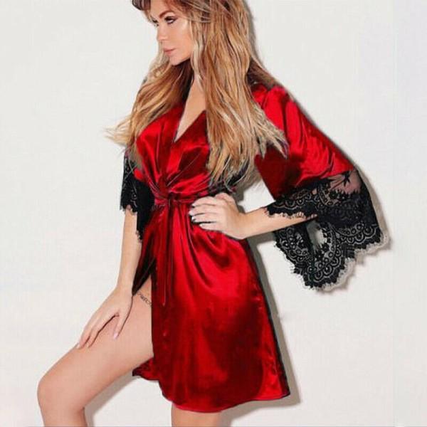 Kvinnor Sexig Satin Silk Sleepwear Spetsbrud Kimono Robe Soft Vin, röd M